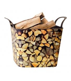 Panier motif bois pour granulés ou bûches